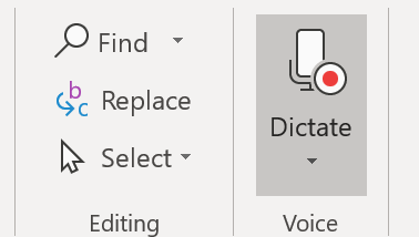 image depicting the dictate button when it is listening