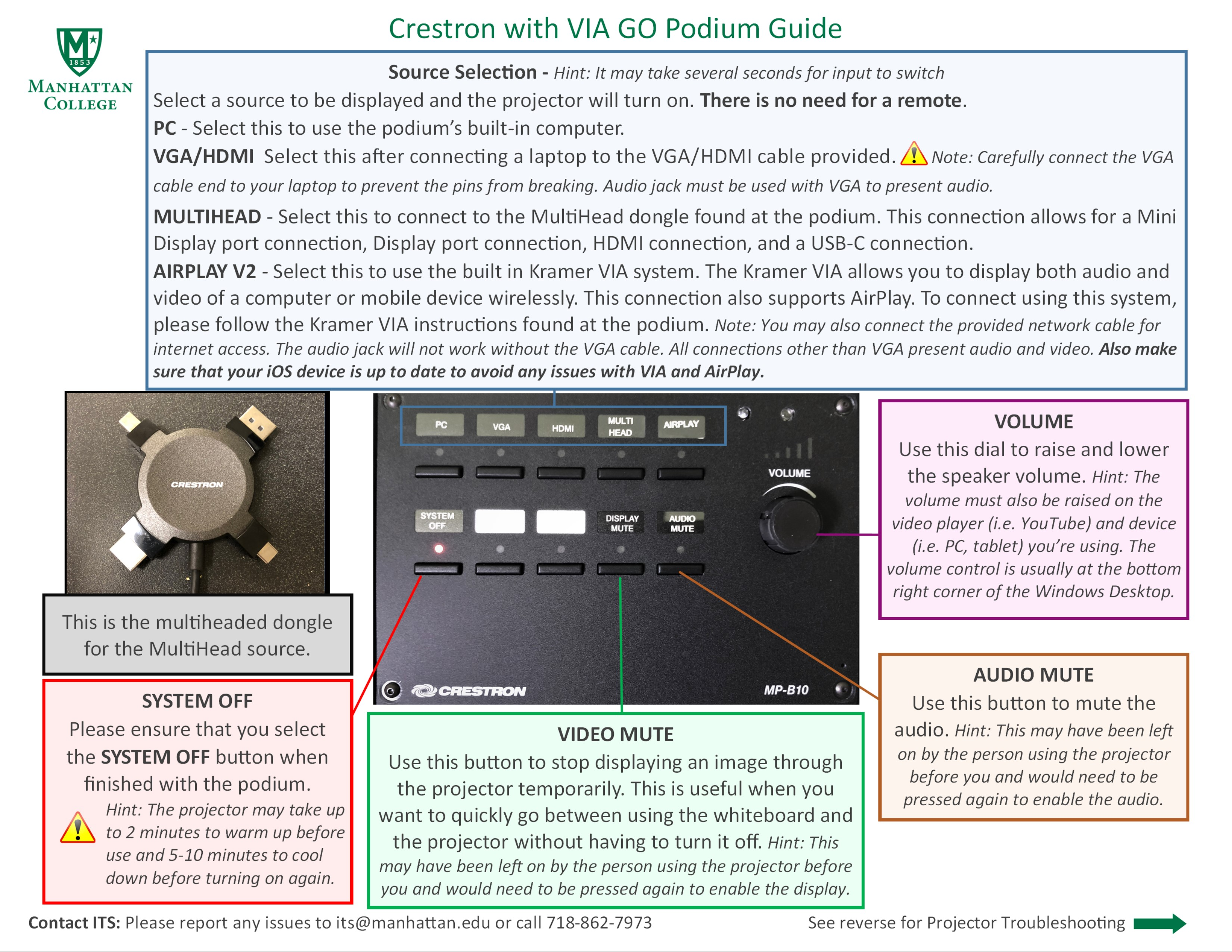 image depicting the crestron control unit podium guide with the kramer system