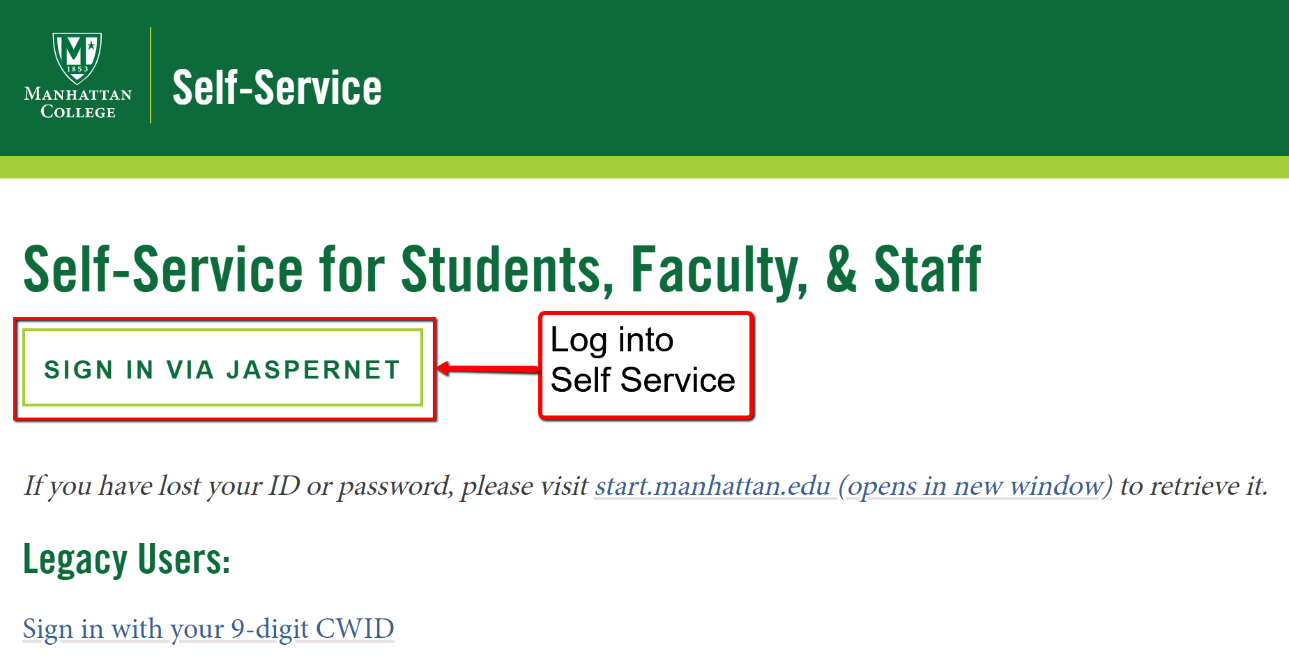 image depicting the self service log in page