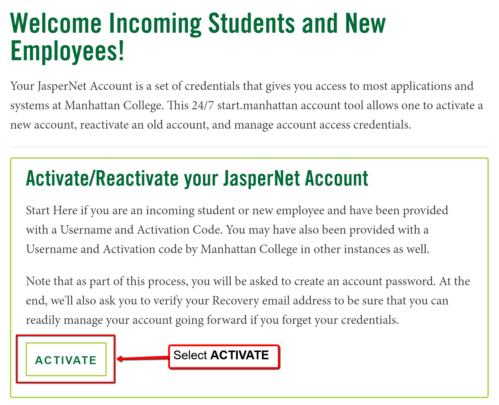 image depicting the activation page for manhattan college