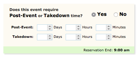 image depicting whether this event requires post event or takedown time