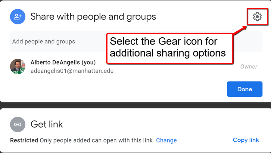 select the gear icon for additional sharing option