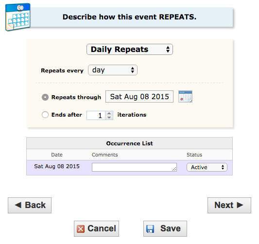 image depicting the option for daily repeats