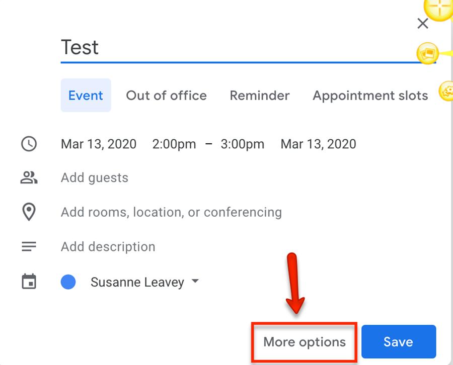 google calendar event more options button