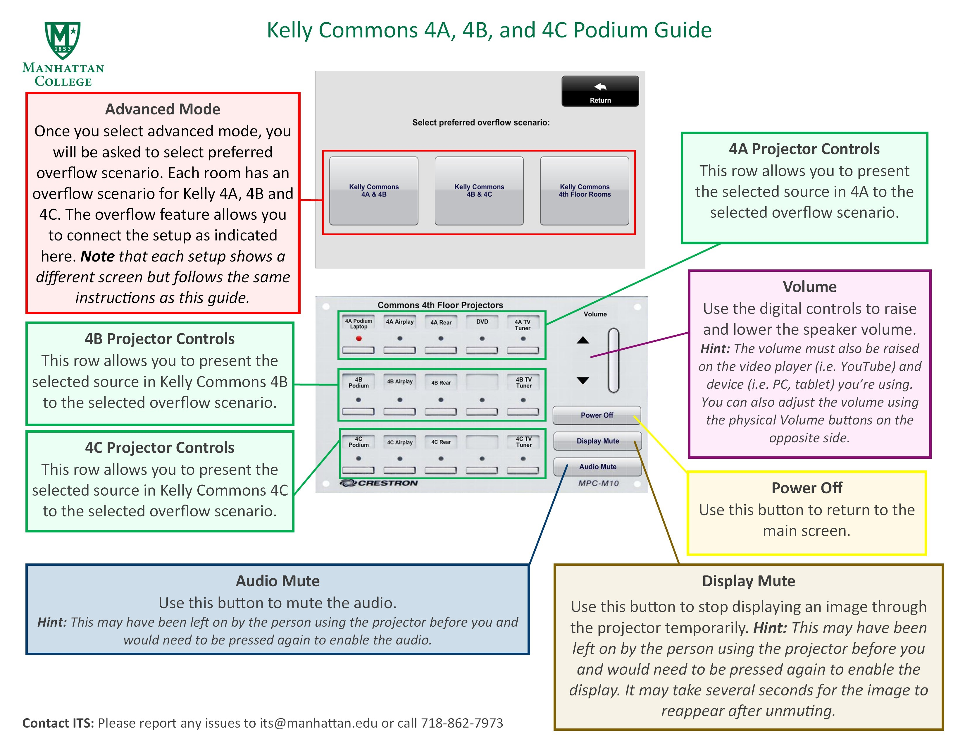image depicting the advanced screen mode for the kelly commons 4th floor. This explains the overflow scenarios for merging rooms when presenting to large groups