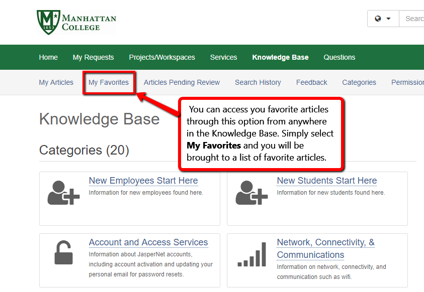 accessing your favorite articles using the my favorites tab at the top of the knowledge base