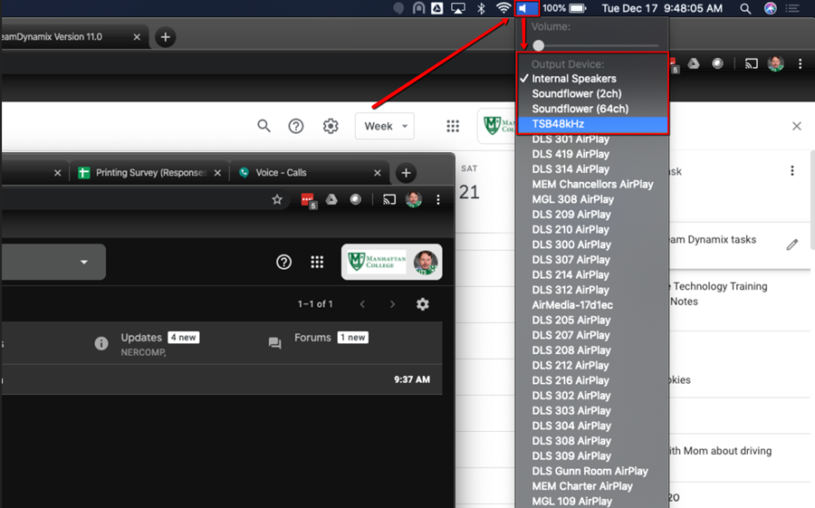 image depicting the mirroring settings for hangouts meet hardware