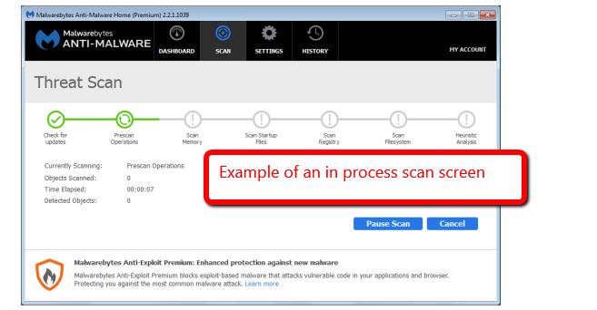 image depicting the in process scan screen
