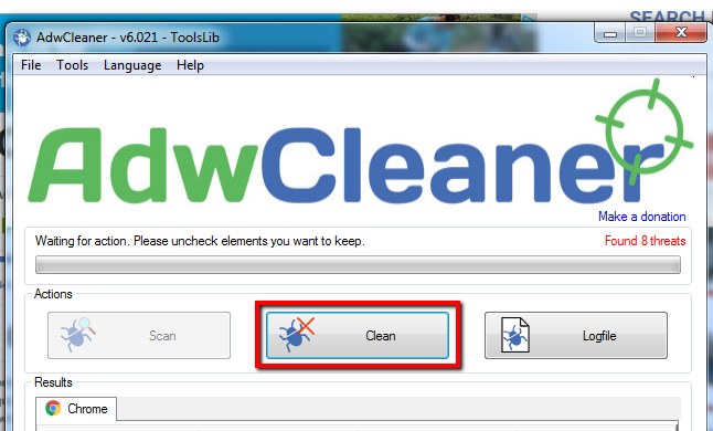image depicting the clean button
