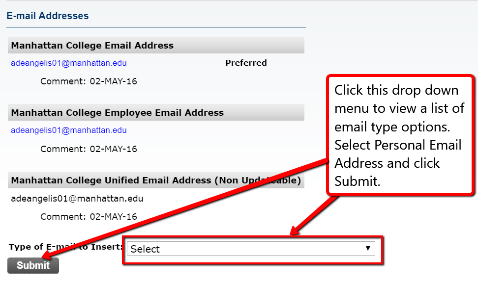 This is a screenshot of the Update E-mail Addresses web form on Self-Service.