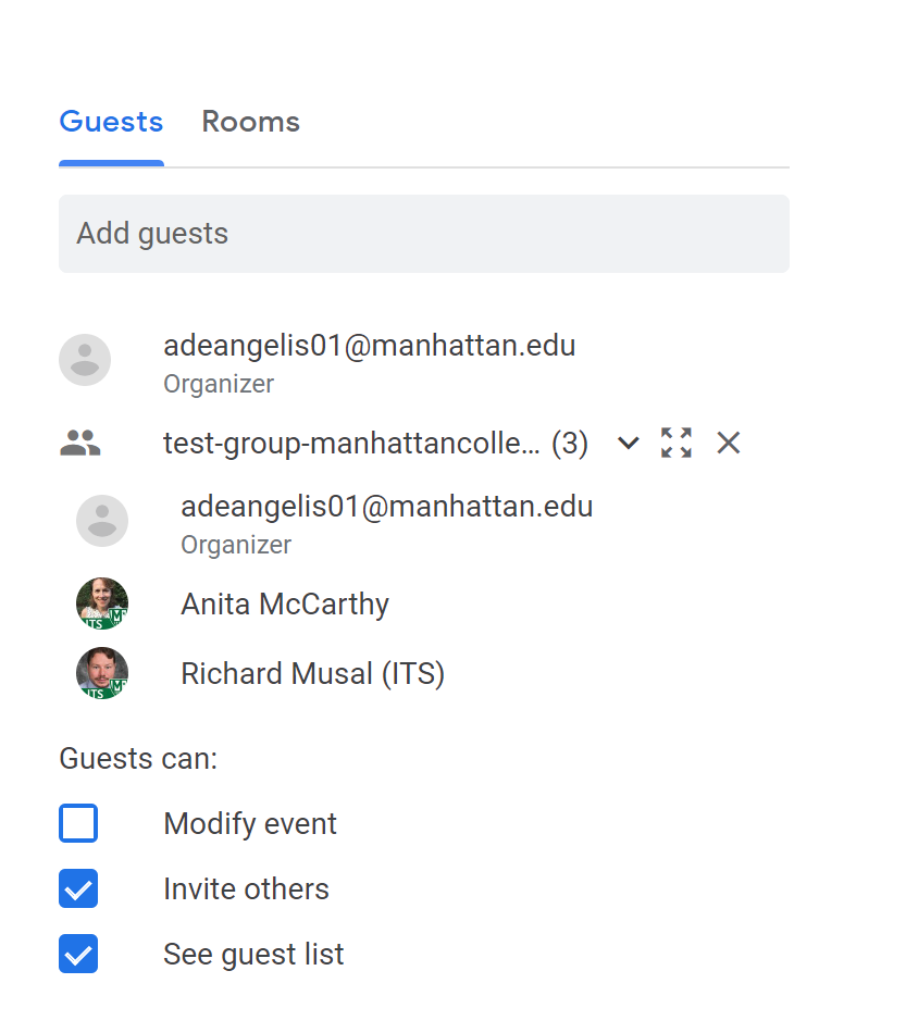 image depicting the calendar event using the google group emails