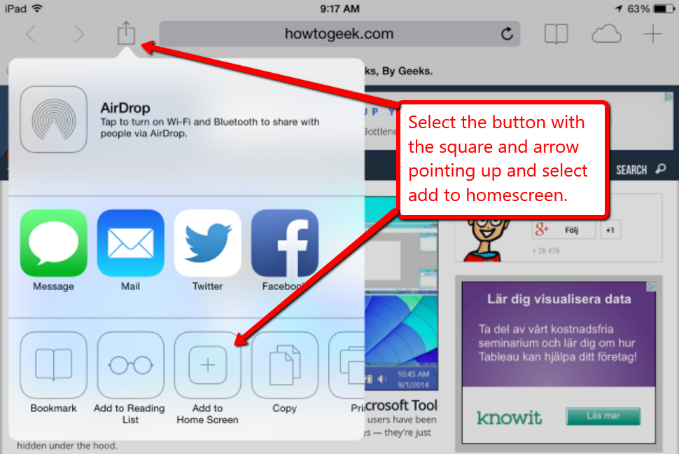 Image depicting how to add a shortcut to the homescreen of an iOS device.