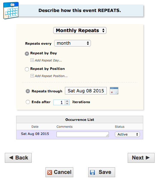 image depicting the option for monthly repeats