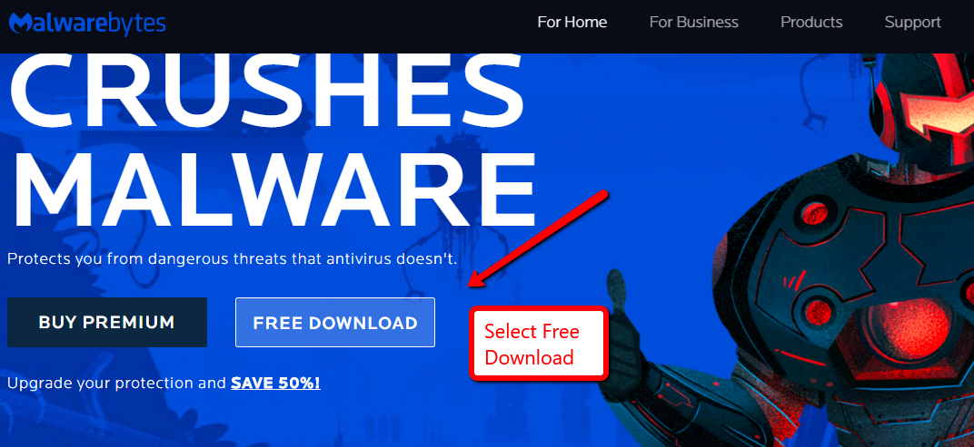 image depicting the free download for malwarebytes on the main website