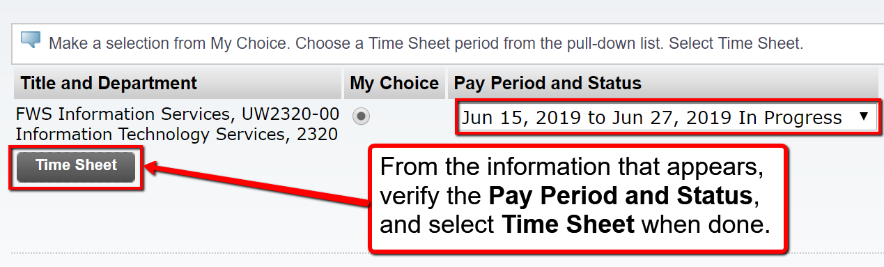 image depicting the page where you will verify the pay period and status and select time sheet