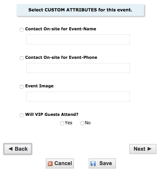 image depicting the custom attributes for the event