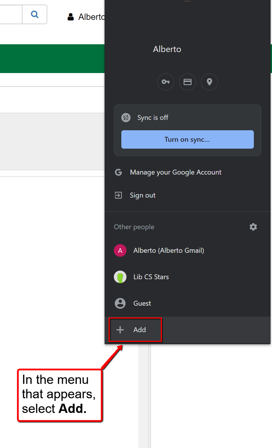 image depicting how to add new person on chrome