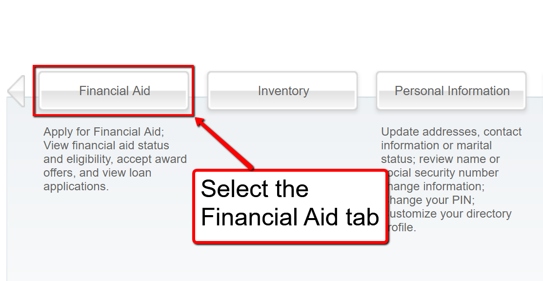 image depicting where to select the financial aid tab