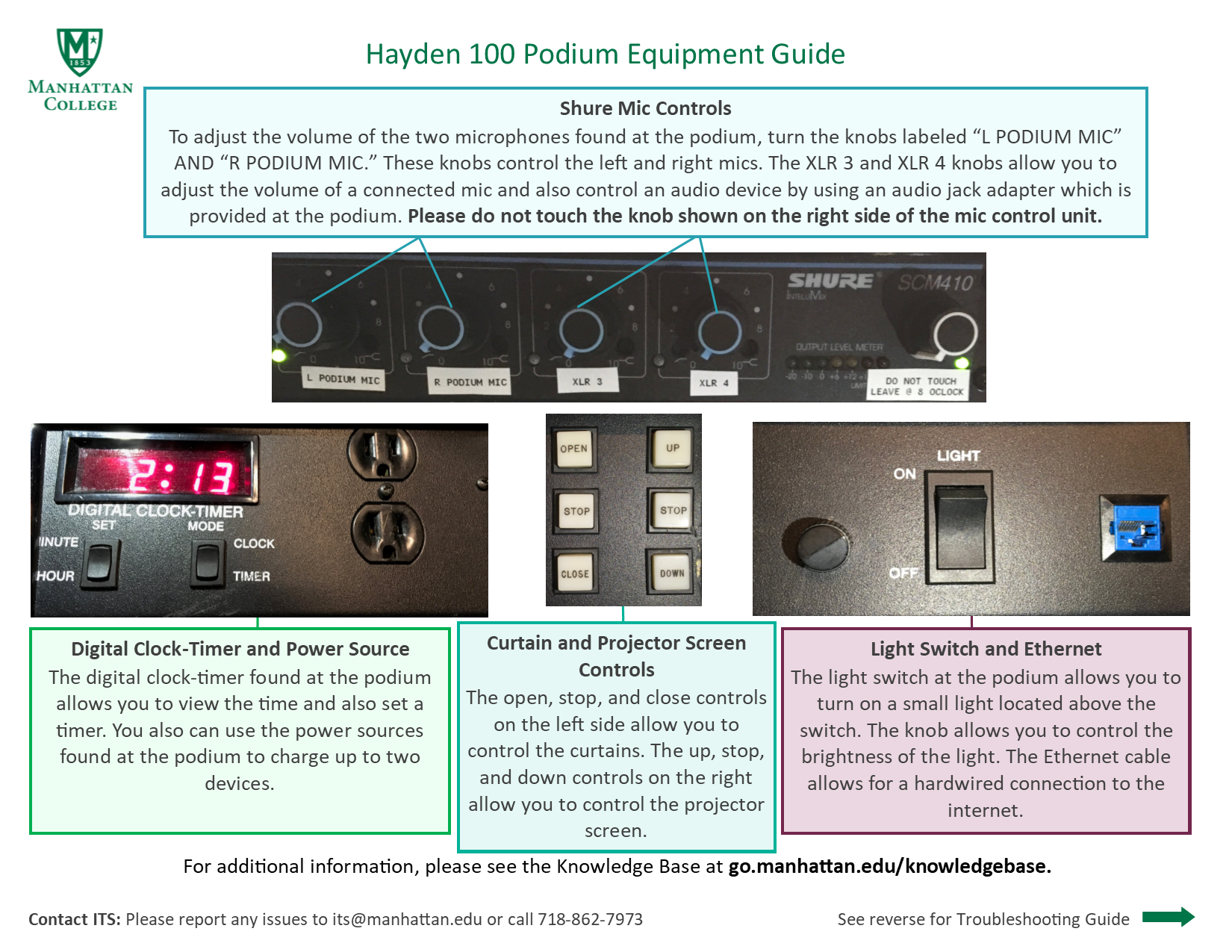 image depicting the back side of the hayden 100 podium guide