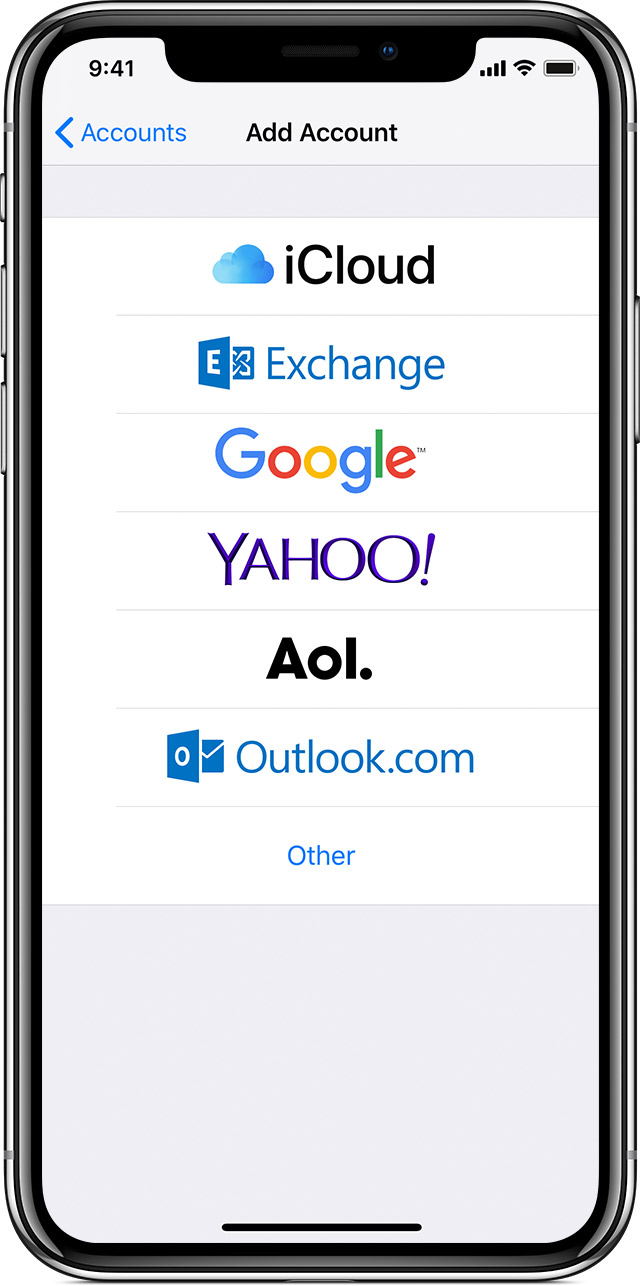 image depicting the list of email providers such as gmail, yahoo, aol