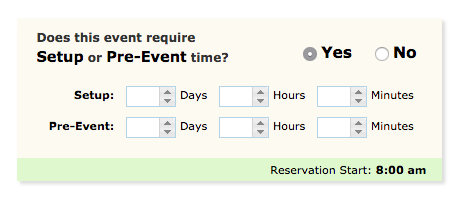 image depicting the option for setup or pre event time
