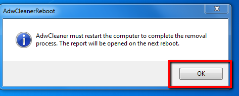 image depicting to select ok when prompted to restart