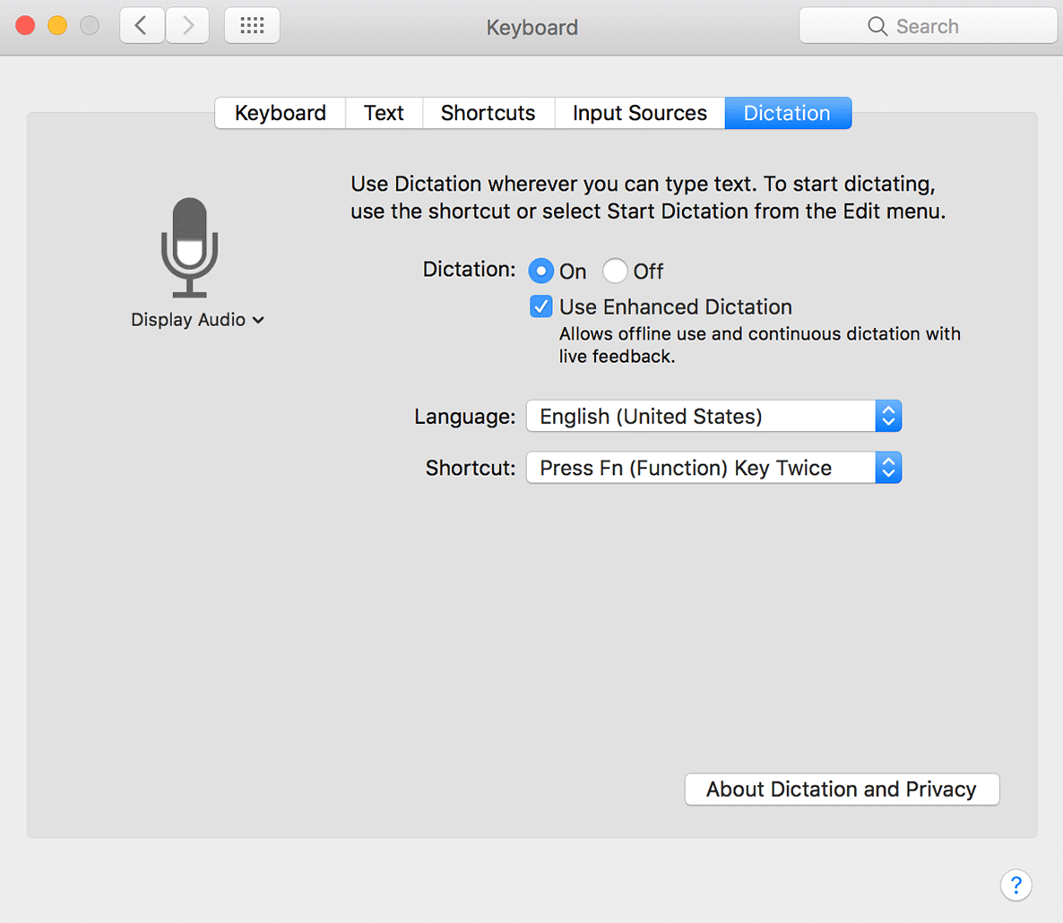 image depicting the macOS dictation menu for getting started