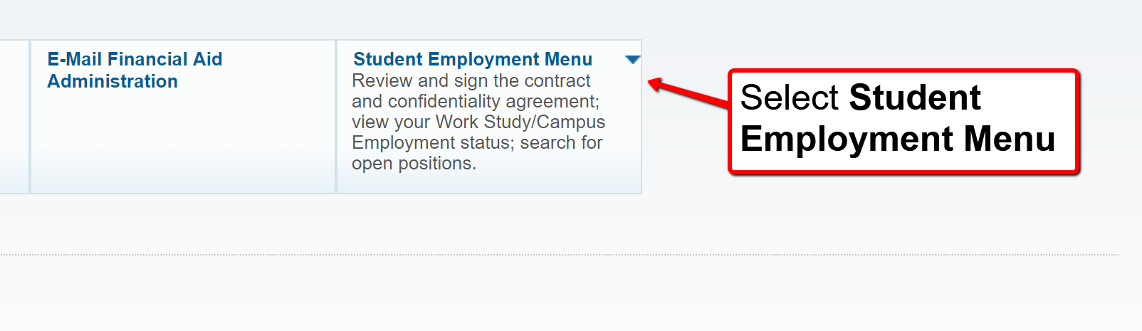image depicting the student employment menu tab