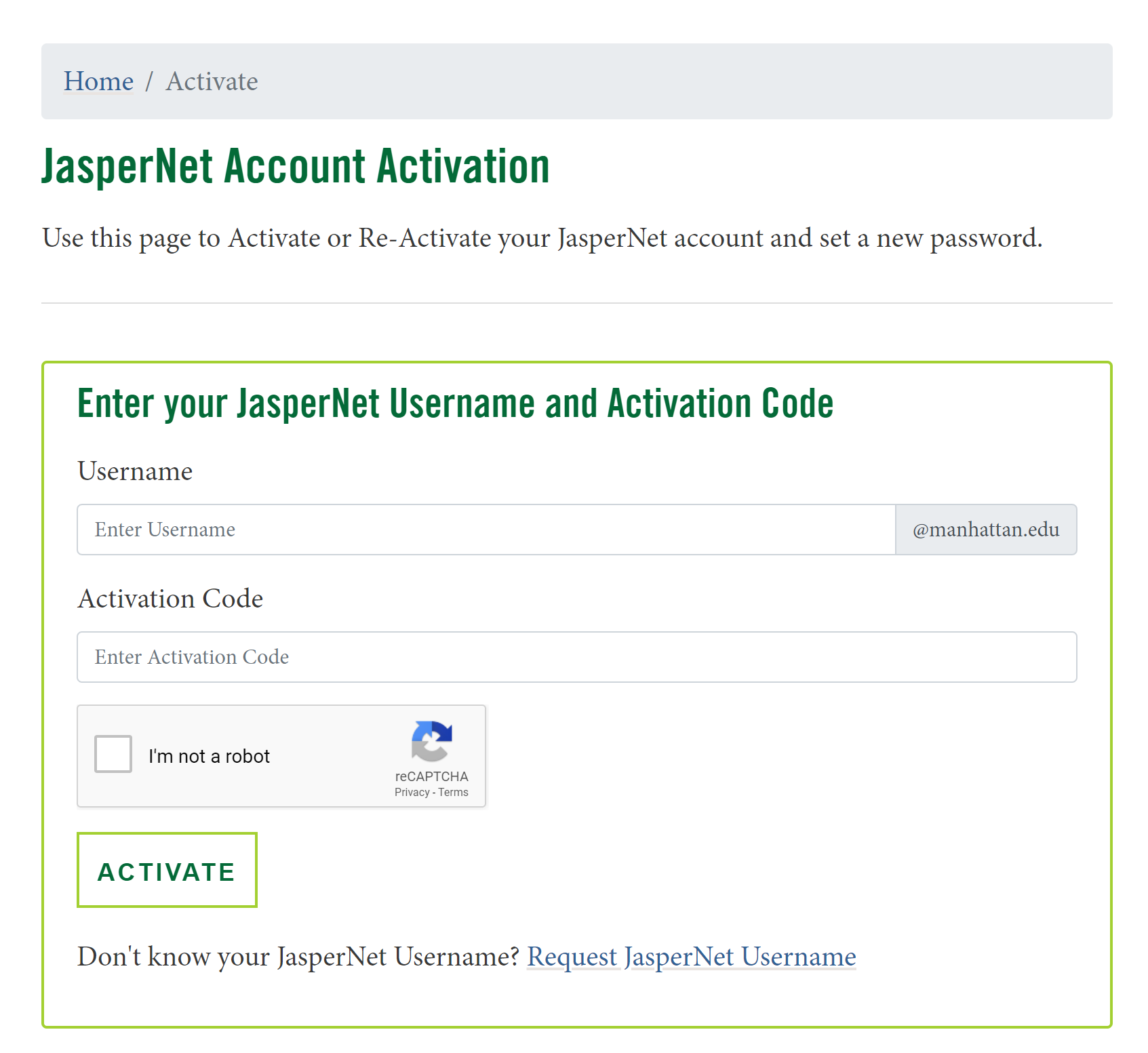 image depicting the account setup page and activation code prompt