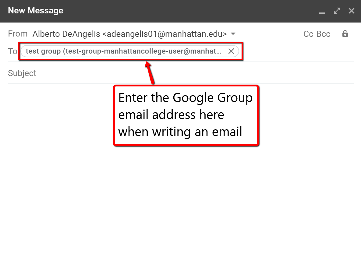 image depicting where to add the email address for the google group