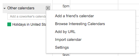 image depicting the other calendars section and click the drop-down icon. There the Add by URL option can be found