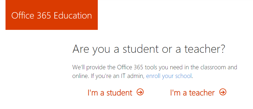 image of Office 365 Are You a Student or Teacher Screen