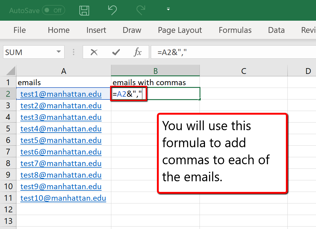 excel spread sheet of members emails