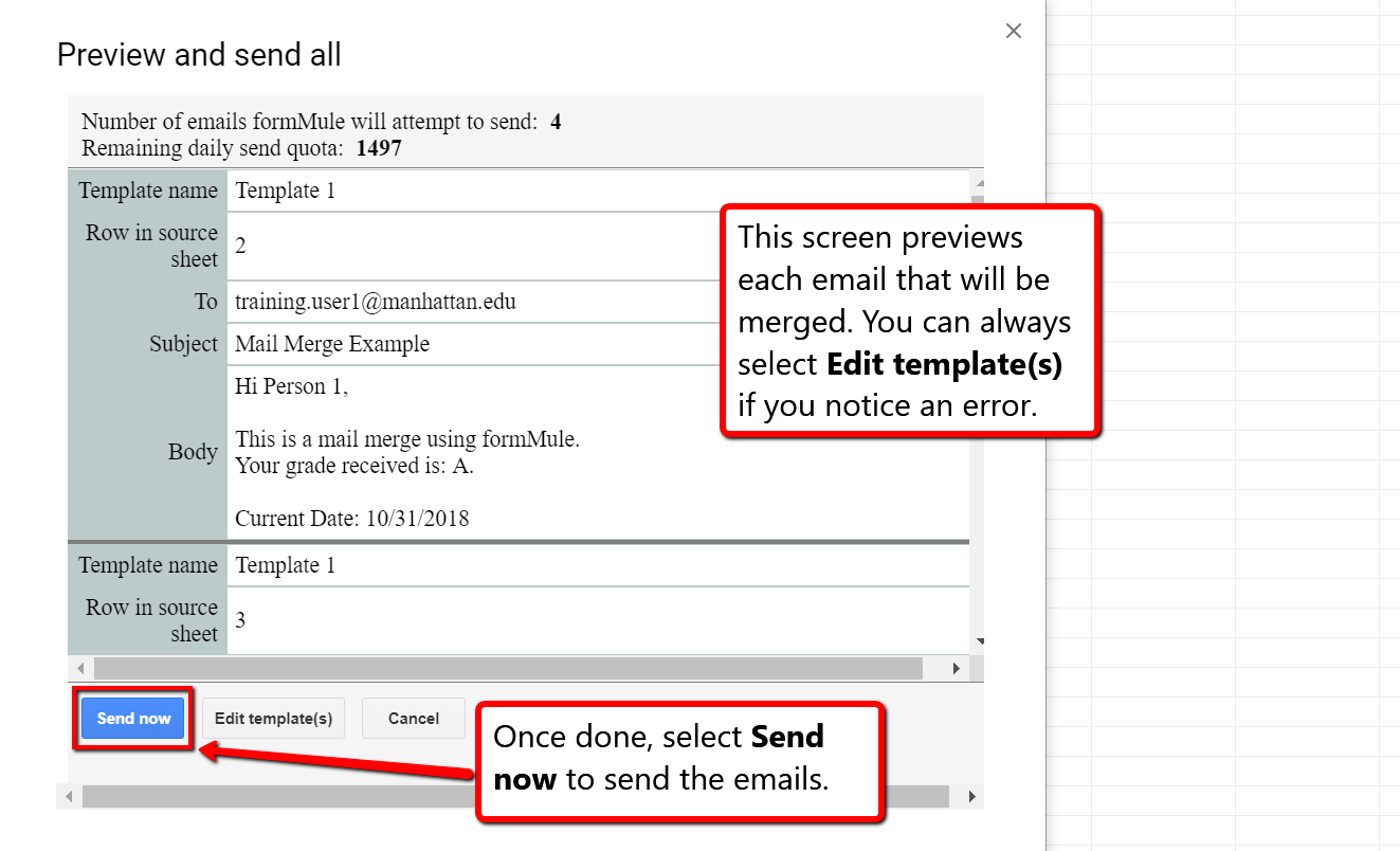 image depicting the preview page for the email that will be mail merged.