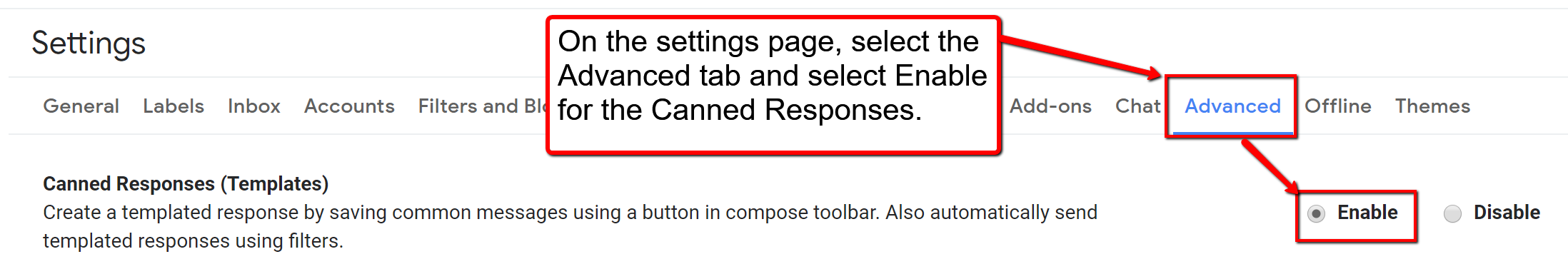 image depicting the advanced tab and where to enable the email templates feature.