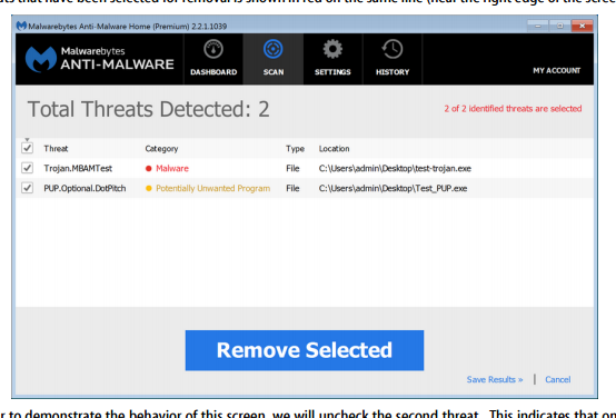 image depicting a scan that found malware. To remove, click the remove button