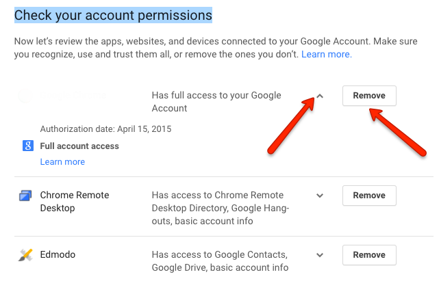 image depicting the account permissions