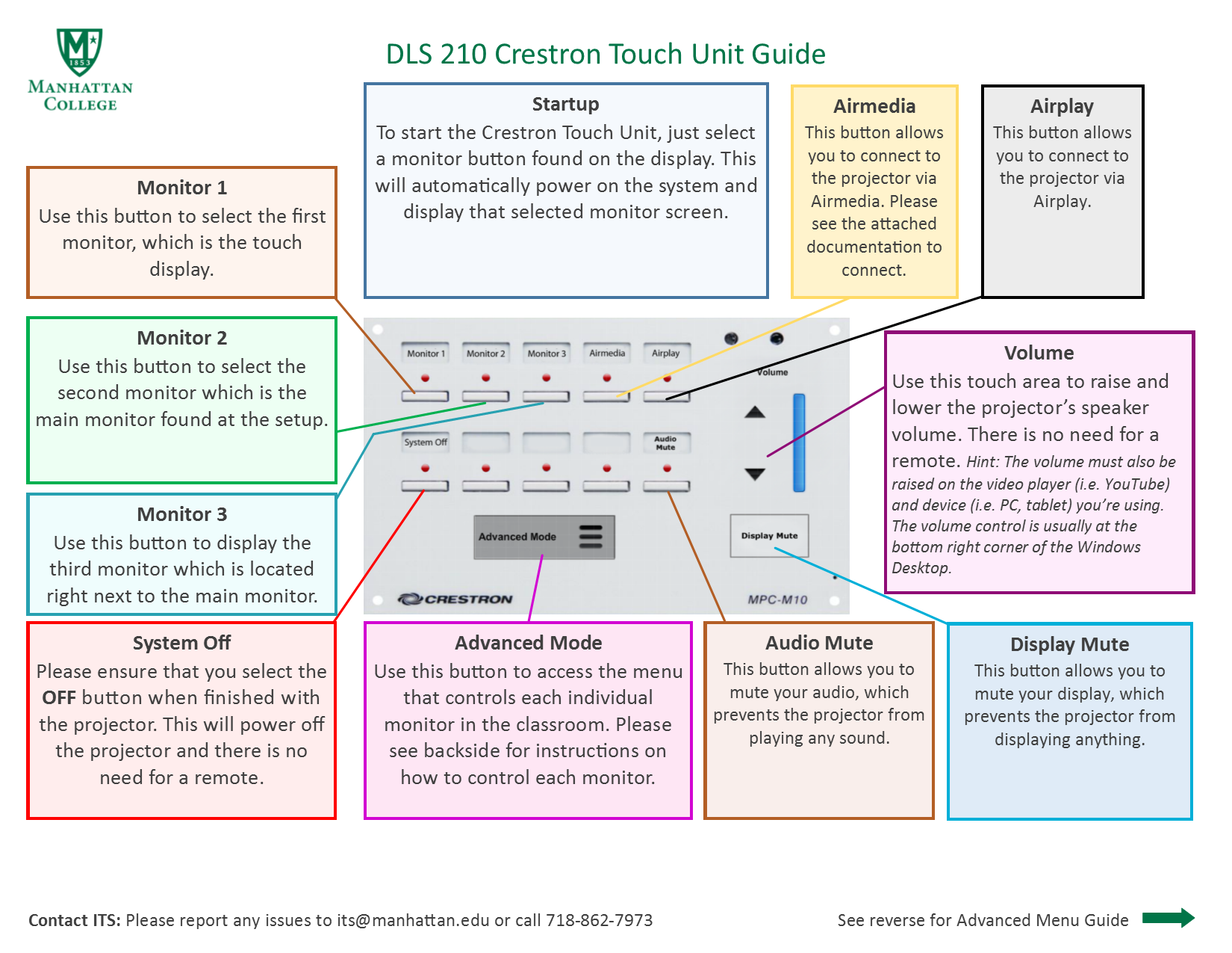 image depicts touch crestron guide