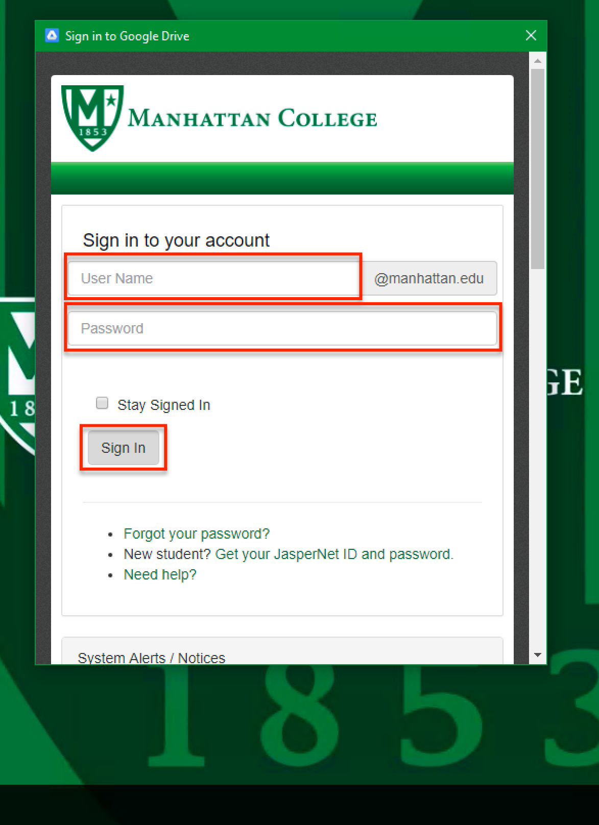 image depicting where to type your manhattan college credentials