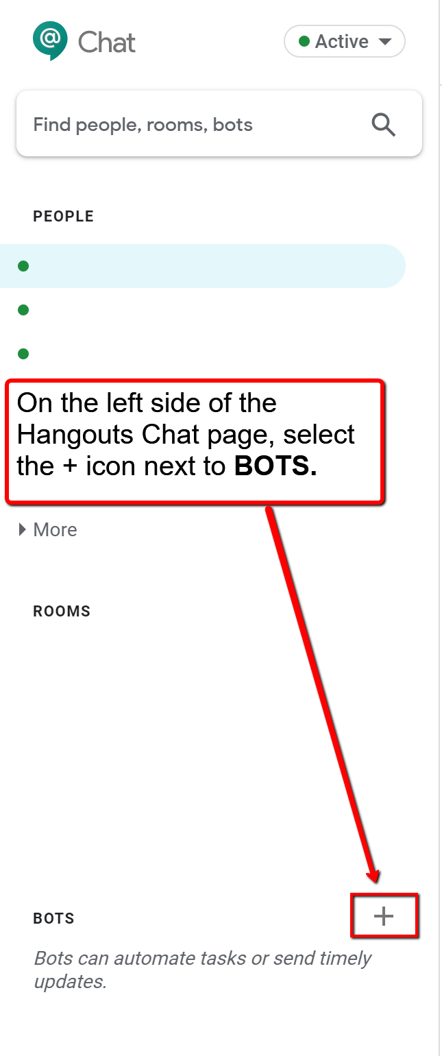 image depicting the add bot icon in hangouts meet