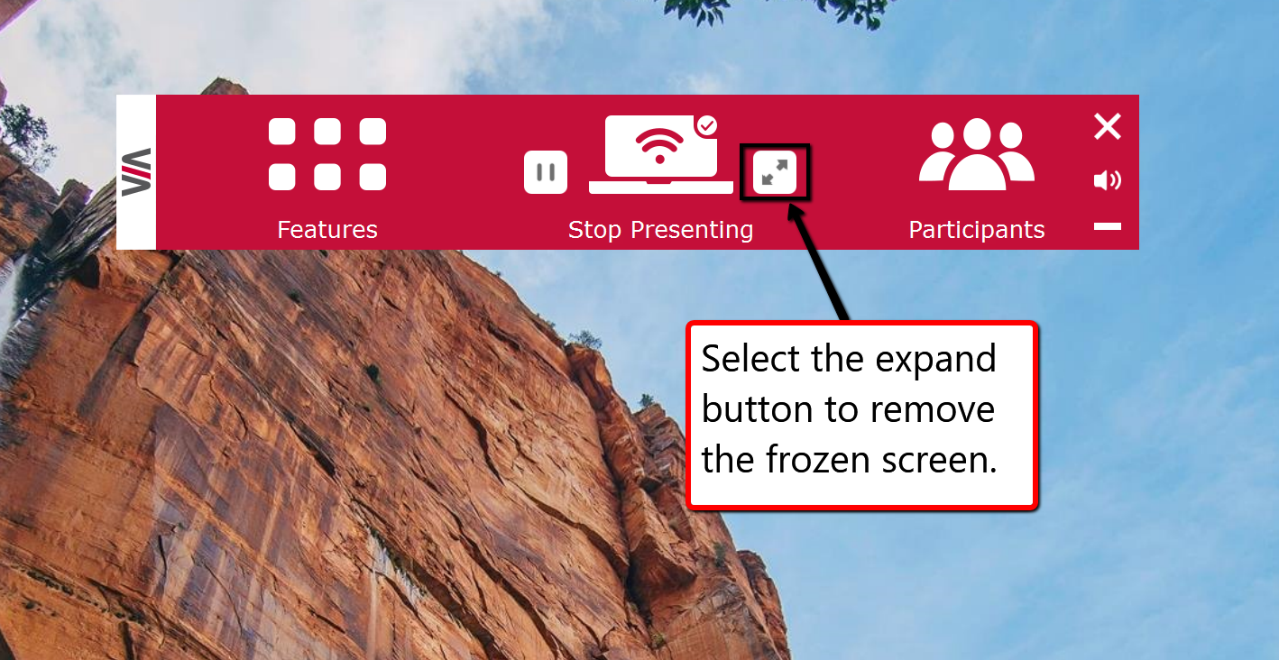 image depicting the expand button when attempting to fix a frozen airplay screen
