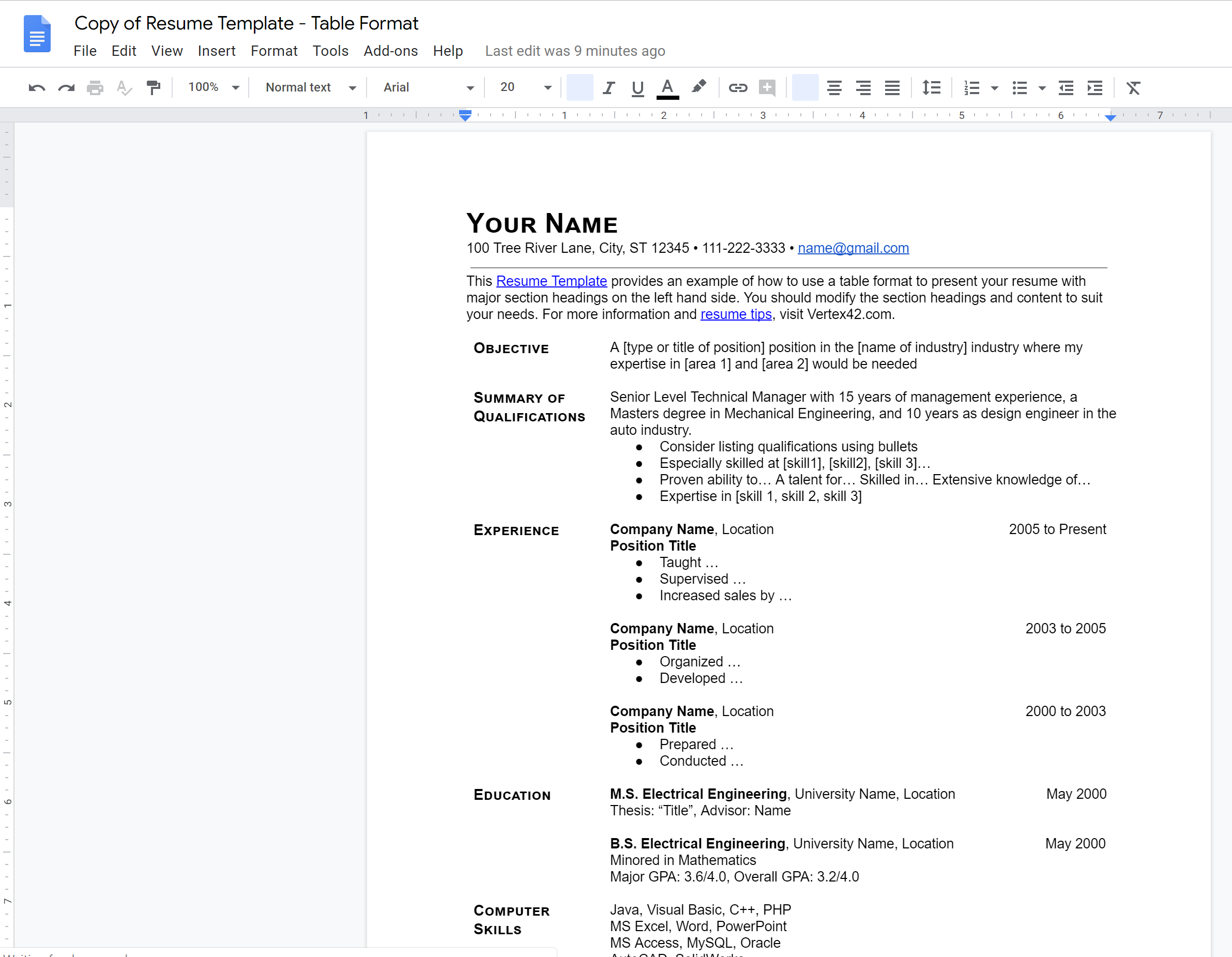image depicting a sample resume template