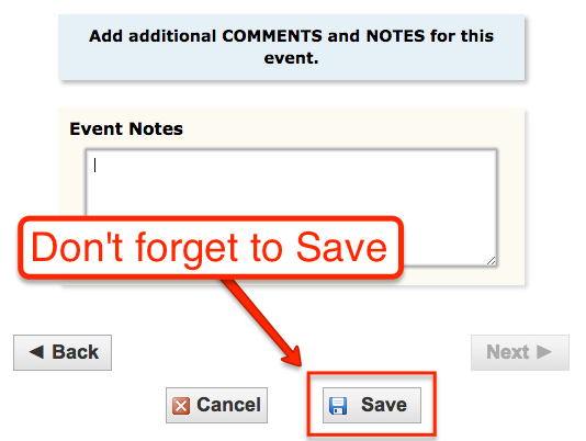 image depicting to how to save the event