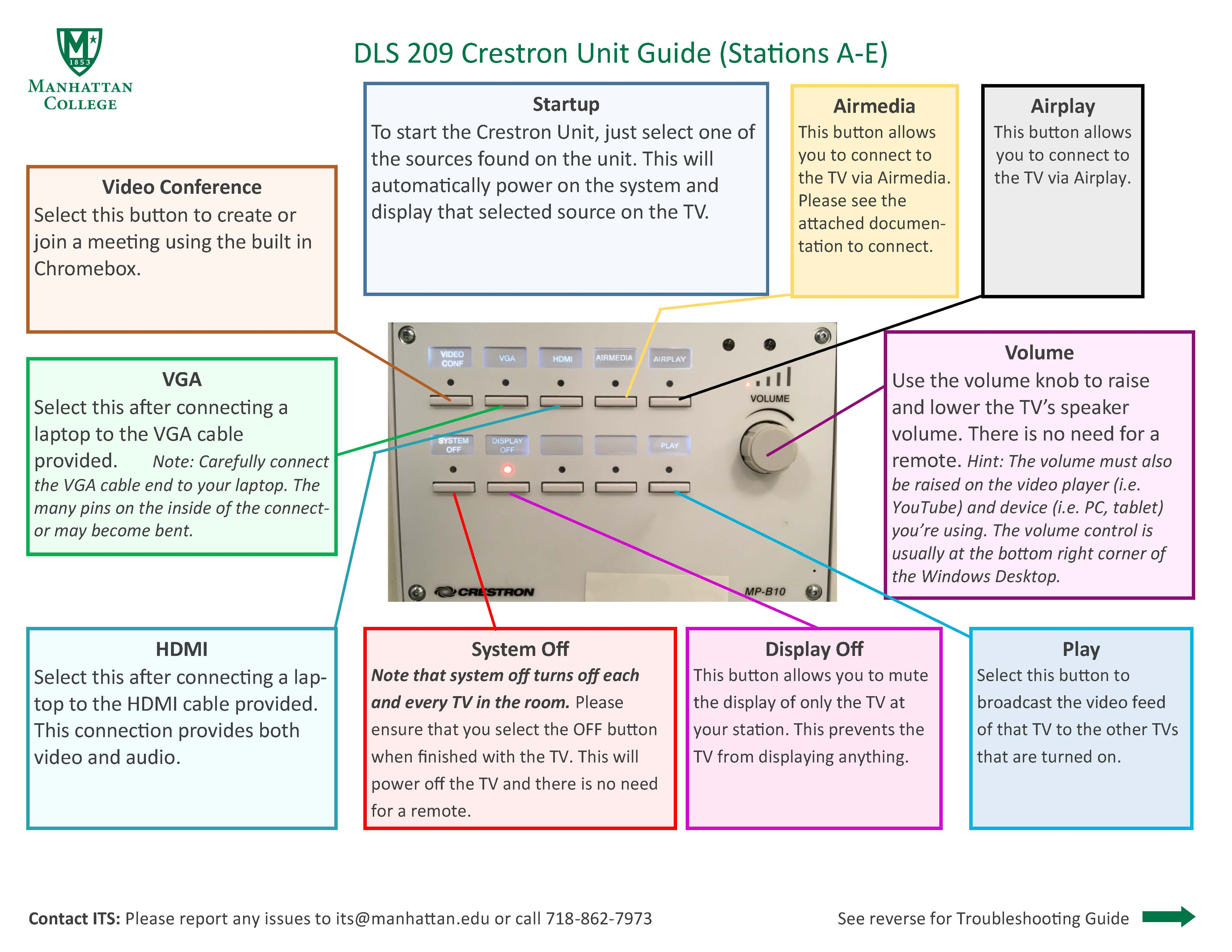 image depicting the details of the dls 209 crestron unit students station