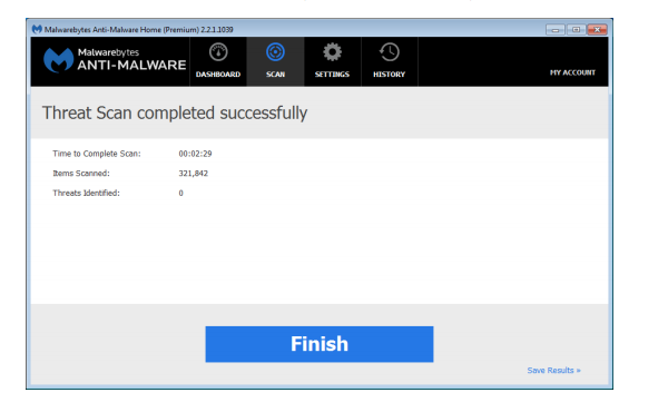 image of scan results with no malware