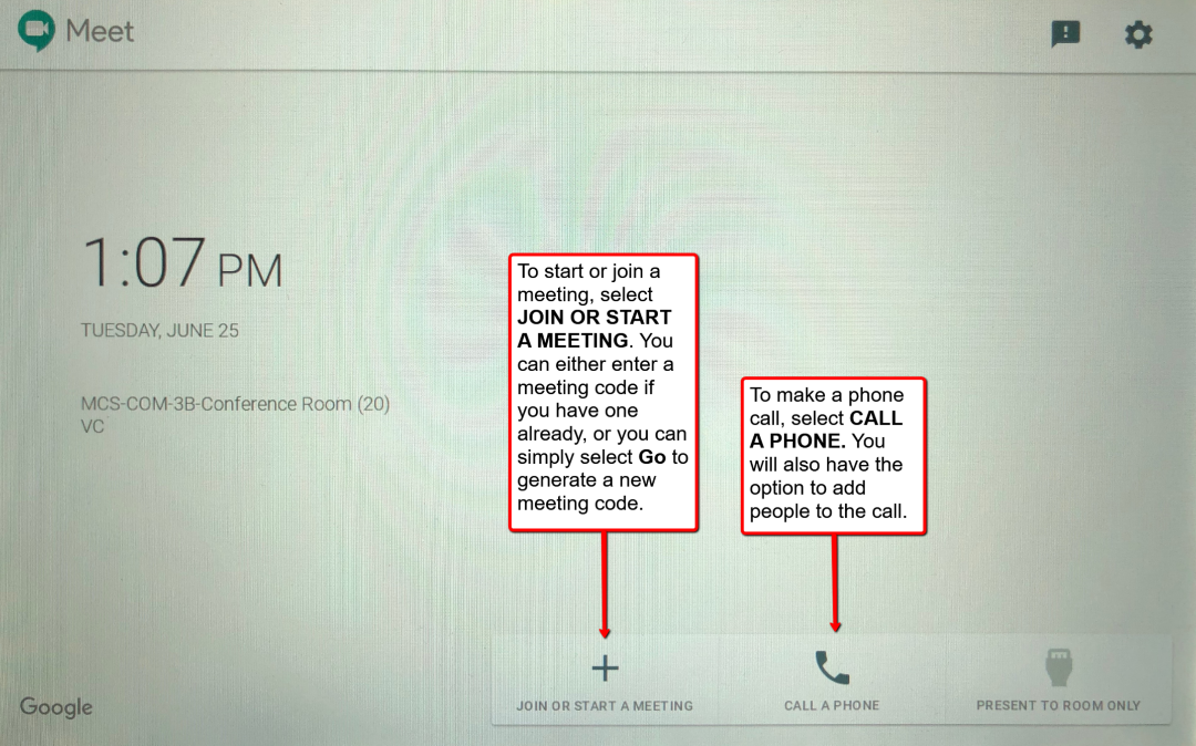 image depicting the home page of the hangouts meet touchscreen where you can join and start a meeting, as well as dial in.