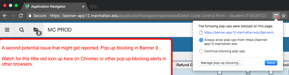 Image depicts how to enable popups for Banner
