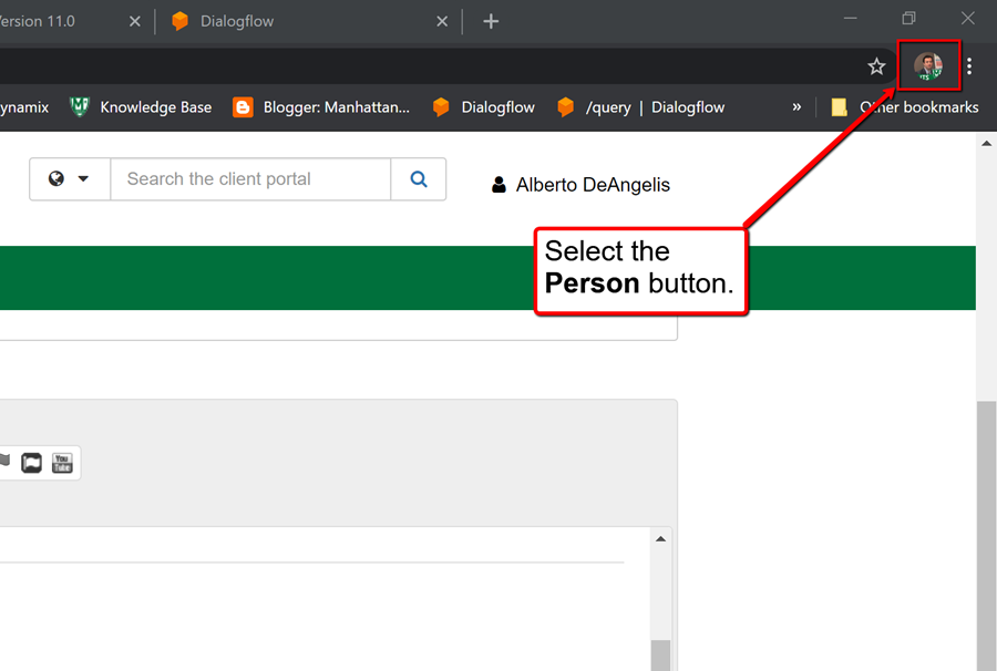 image depicting how to select the person button to manage account in chrome