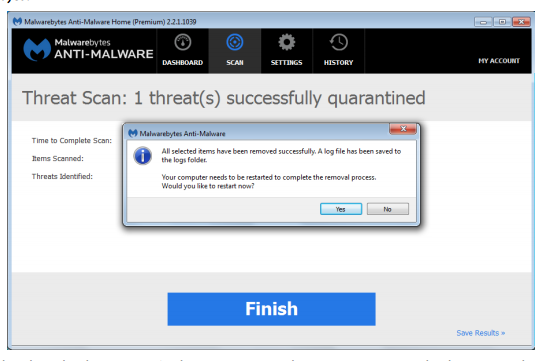 image depicting the final screen after malware is removed