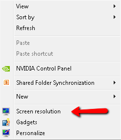 image depicting the screen resolution option